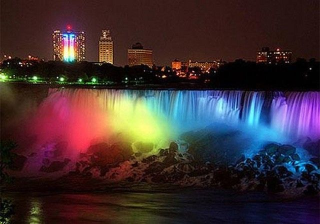 Niagra :)Gay Marriage, Buckets Lists, Niagara Falls, Night Lights, Rainbows Colors, Beautiful Places, Lights Show, New York, Fall Photos