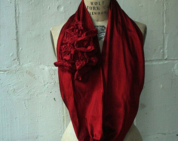 Silk Ruffle Infinity Scarf , Women's Fashion Accessories , Le Cercle Rouge , Red Scarf