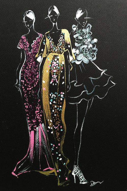'Inspired Fashion Illustration' (Couture Gowns) by Rongrong DeVoe Painting Print on Wrapped Canvas