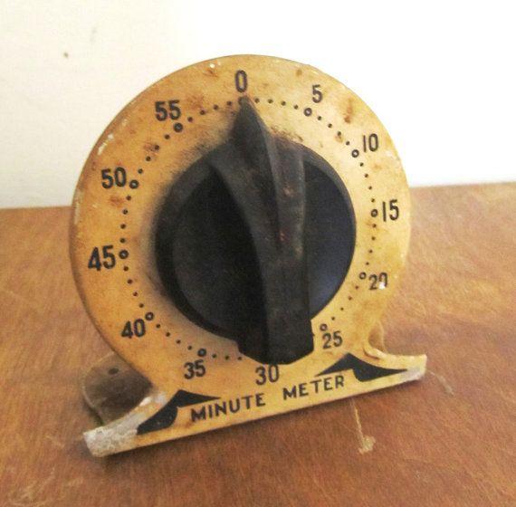 vintage kitchen  timers   Kitchen Timer Vintage 40s 50s Industrial Steampunk Steel Enamel Rustic ...
