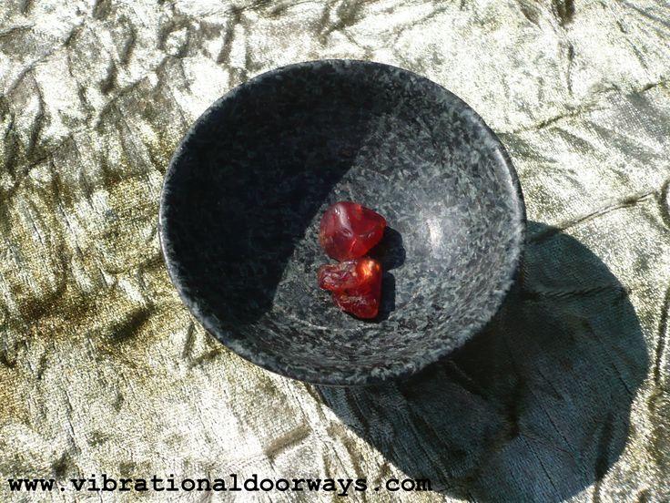 Red Zircon in a Preseli Bluestone bowl