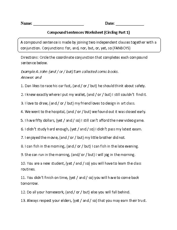 compound complex sentence worksheet grade 7.rar