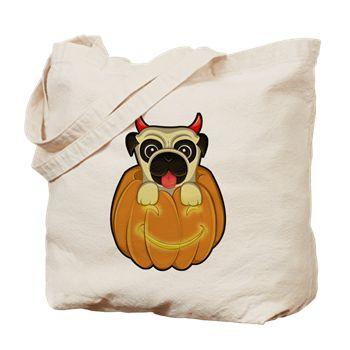 Halloween Pug Tote Bag