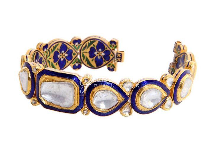 Blue Enamel Jadau Polki Bracelet