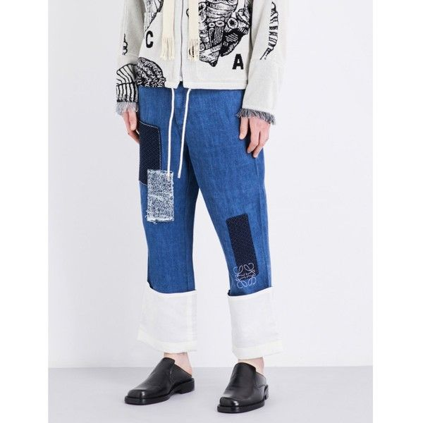 Loewe Loose-fit patchwork jeans (€655) ❤ liked on Polyvore featuring men's fashion, men's clothing, men's jeans, mens loose jeans, mens wide leg jeans, mens loose fit jeans, mens cuffed jeans and mens patched jeans