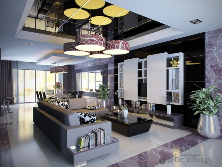 Interior Design, Cool Modern Living Room Inspiration With Colorful Theme Contemporary  Ideas Feats Marble Tiling Floor And Unique Rounded Pendant Lamps ...