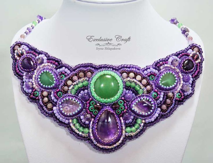 "Unique purple beaded necklace ""Aurora"" made with genuine Amethysts and Jades cabochones, Aventurine, Amethyst, Lepidolite beads, and Japanese seed beads."