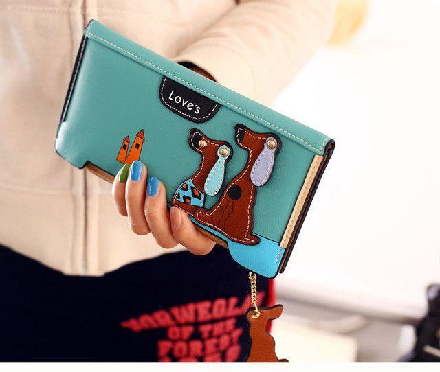 BVLRIGA Cartoon dog women purse bag designer wallets famous brand women wallet long money clip dollar price zipper coin pockets