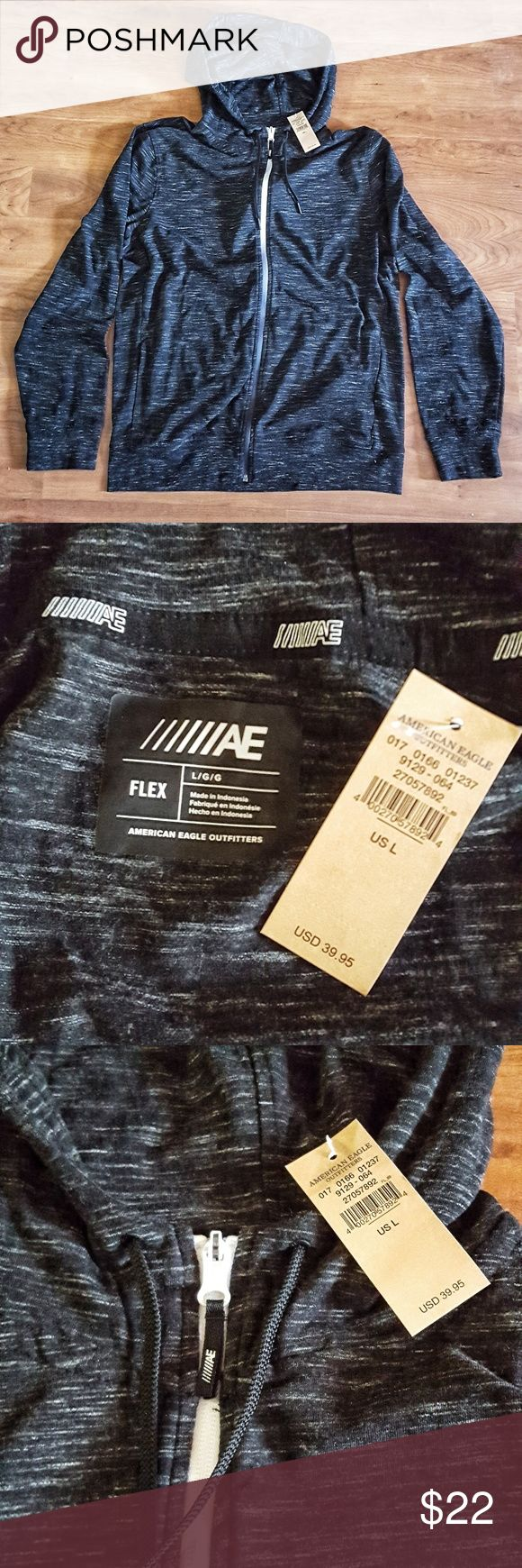 mens american eagle outfitters flex sport hoodie american eagle outfitters flex sport hoodie in black and white speck fabric white zipper and side pockets brand new with tags.. smoke free home American Eagle Outfitters Jackets & Coats Performance Jackets