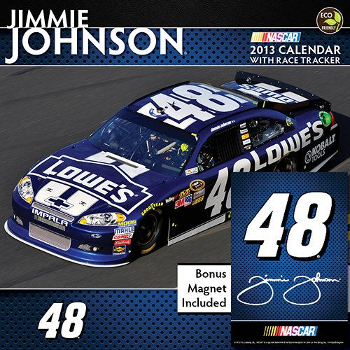 Jimmie Johnson Deluxe Wall Calendar: This officially licensed wall calendar features five-time NASCAR Sprint Cup Champion Jimmie Johnson and his #48 car. Race through the year with the best NASCAR driver of his generation, track his stats as he looks to add a sixth championship and enjoy the signed #48 bonus magnet.  $14.99  http://calendars.com/NASCAR/Jimmie-Johnson-Deluxe-2013-Wall-Calendar/prod201300002441/?categoryId=cat00546=cat00546#