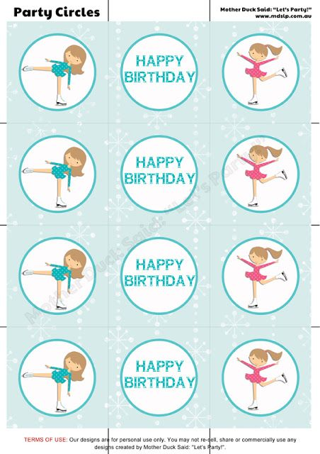"Ice Skating Party Printable Party Circles /  Printable Cupcake Toppers  Mother Duck Said: ""Lets Party!"": Ice Skating Party"