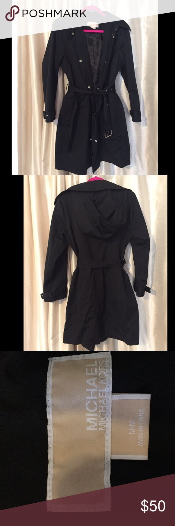 MICHAEL KORS black rain coat MK trench rain coat, perfect for the fall, comfy and goes with everything MICHAEL Michael Kors Jackets & Coats Trench Coats