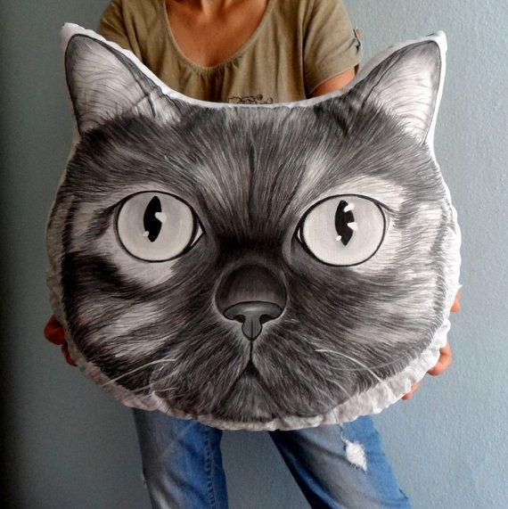 Cat Pillow, Dog Pillow , Custom Pet Portrait  Pillow Plush- XL size Monochrome ,  gift for pet lovers, cat portrait, dog portrait