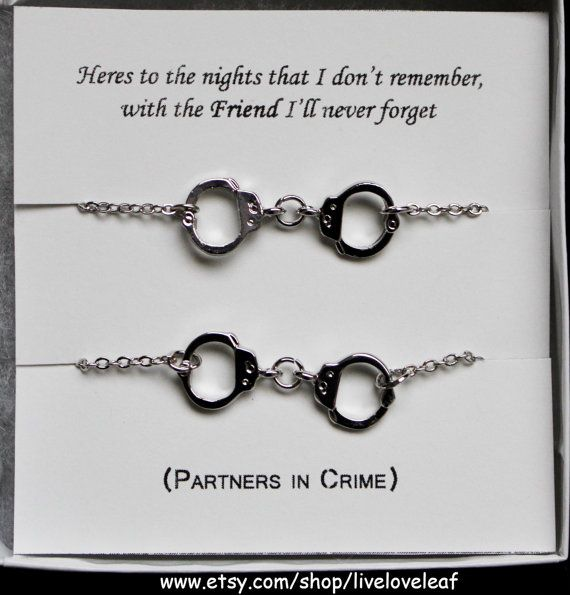 Matching Silver Handcuffs bracelets Partners in Crime Best Bitches Handcuff Jewelry 50 Shades of Grey Sisters Mother & daughter Jewelry BFF