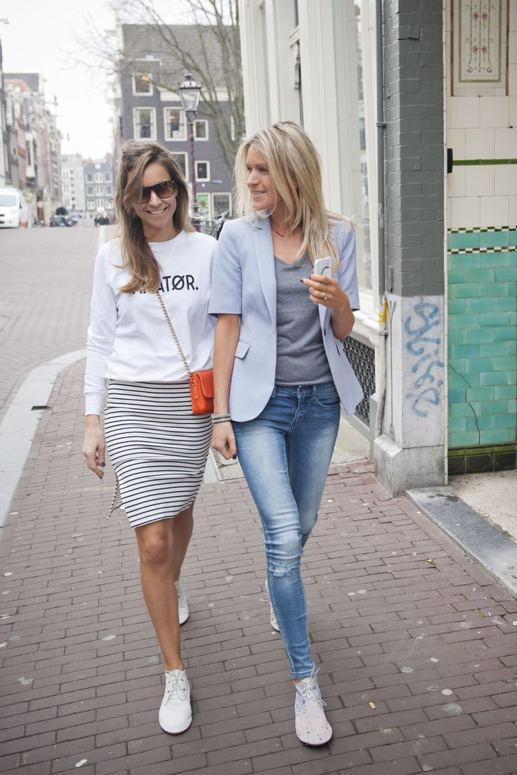 today - smart casual on the streets, white sneakers, blazer, pencil skirt.