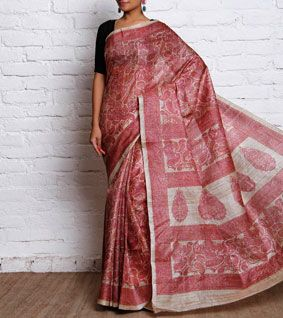 Beige & Pink Hand Block Printed Tussar Silk Saree