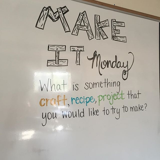 Make something... Create something. Try something new! #teachersofinstagram #iteach7th #iteachtoo #miss5thswhiteboard