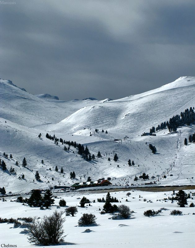 Winter snow in Kalavrita ski center, Ahaia, Peloponnesus_ Greece