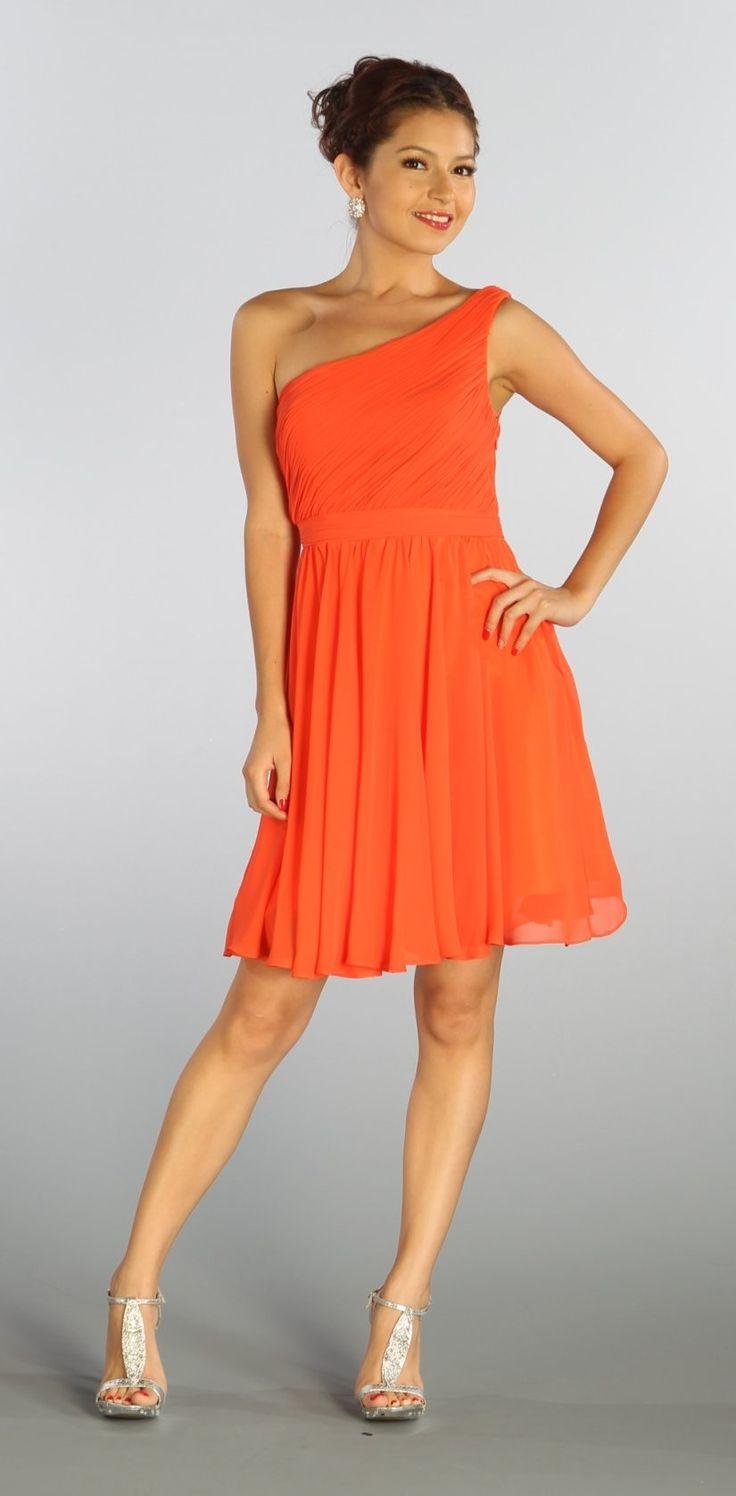 One Shoulder Chiffon Short Orange Bridesmaid Dress Ruched Bodice