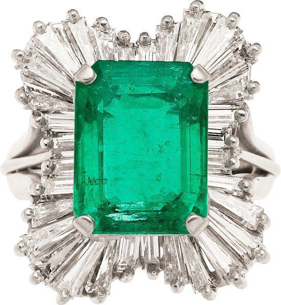 Emerald, Diamond & Platinum Ring.