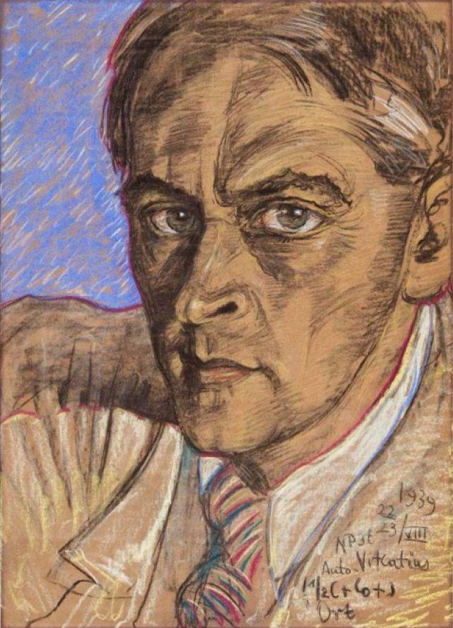 Stanisław Ignacy Witkiewicz [a.k.a. Witkacy] (Polish, 1885-1939) - Self portrait, 1939 - Pastel