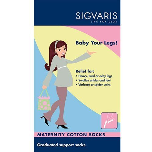 Sigvaris Women's Casual Cotton Maternity Knee High Socks 15-20mmHg, B, Black by Sigvaris. Save 25 Off!. $24.71. Stylish Cotton Comfort for Pregnant Women Sigvaris Stylish Cotton has a modern, casual design and high cotton content which makes this product ideal as a comfortable and informal everyday compression sock  for expectant mothers. Comfort Made with 66% Supima cotton for extra comfort and durability. Highest quality natural cotton provides extraordinary softness. Non-c...