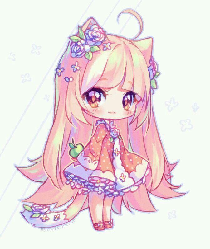 Anime Girl Chibi: Cute Wolf Human Girl. Wallpaper
