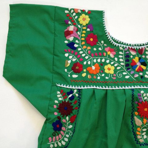 These Mexican hand-embroidered dresses come from Puebla, not Oaxaca like so many people think! They are sewn of a smooth cotton that is vibrantly colored and the gorgeous, colorful embroidery is unique to each piece. They are fantastic for summer as a dress or a tunic. Some people like to