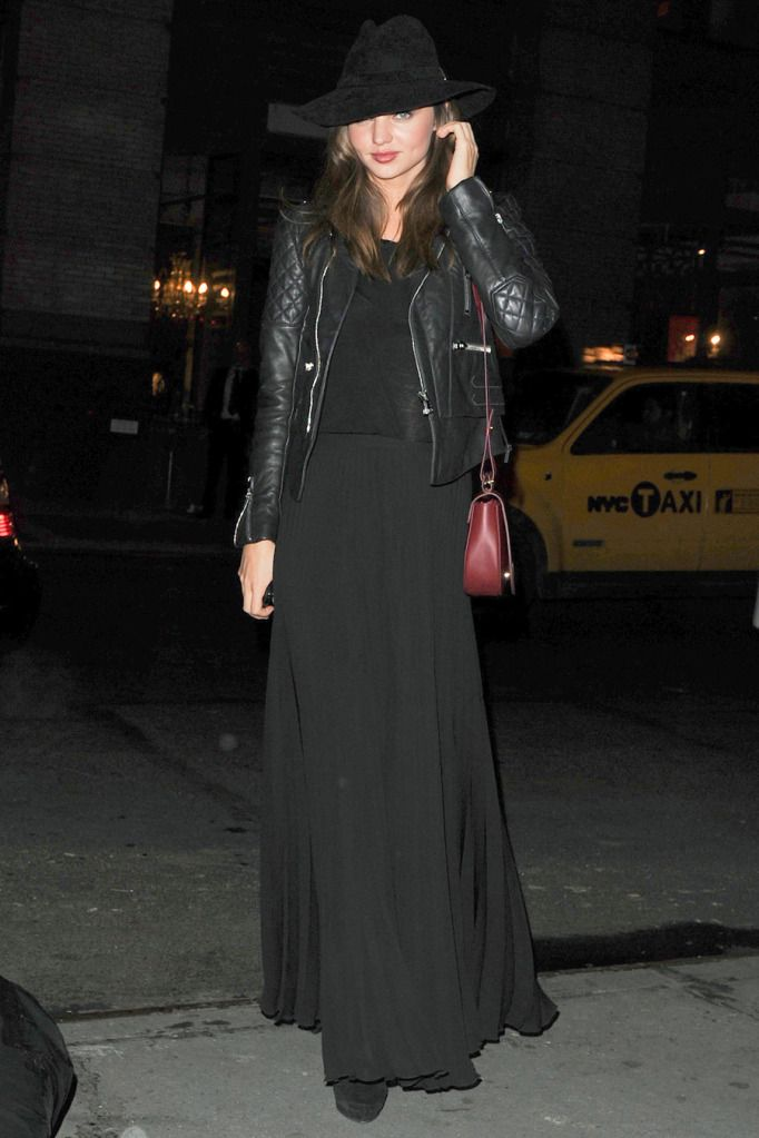 Love this look.  Team a long pleated skirt with a leather motorcycle jacket.