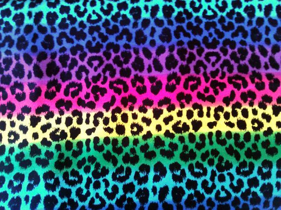 1 yard Leopard reinbow fabric 100 cotton. Cheetah by JeAdore, $7.50