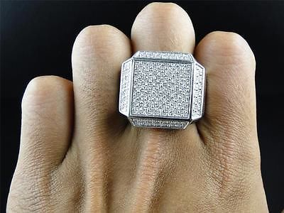 New Mens White Gold Finish Real Diamond XL Pinky Fashion Square Ring 0.53 Ct