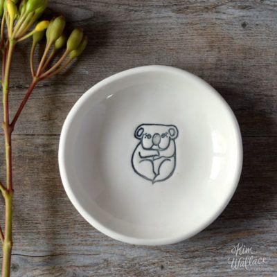 Bush Prints Collection ~ koala porcelain bowl    A collaboration between artist Renée Treml and Kim Wallace Ceramics ~ Handmade Australian Ceramics
