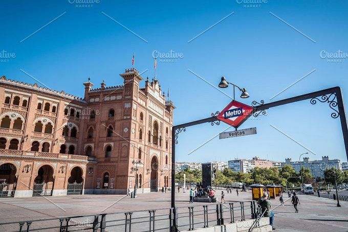 Outdoor view of Bullring of Las Ventas and subway station in Mad by Architect´s eye on @creativemarket