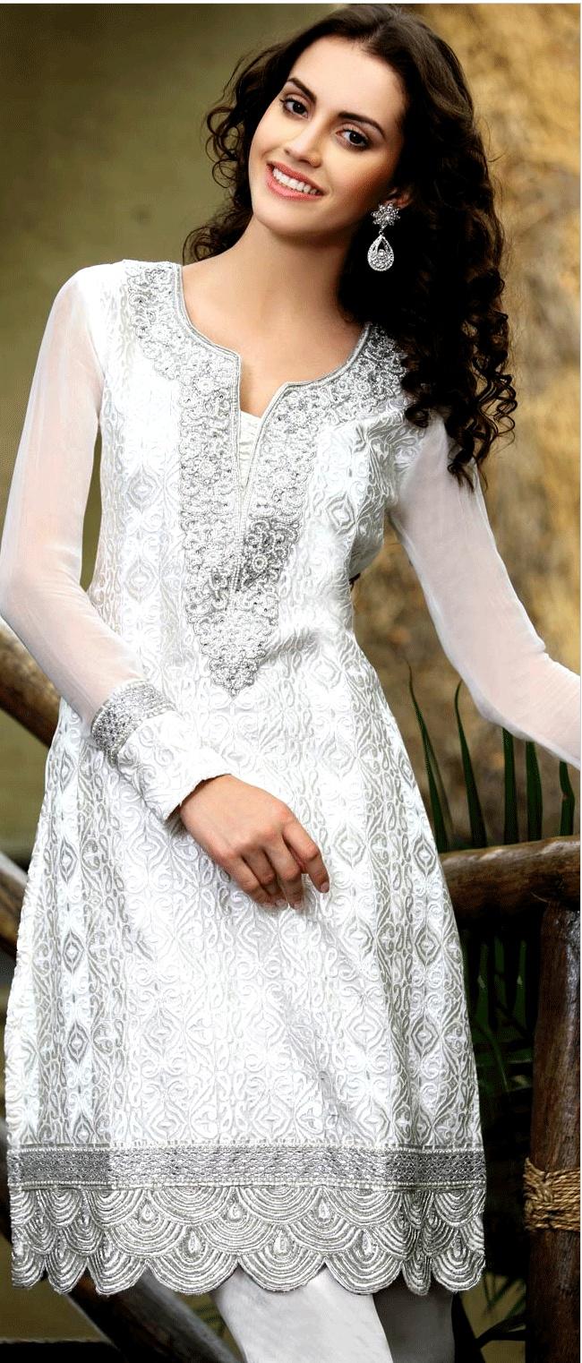Off White Faux Georgette A-line #ChuridarKameez With Dupatta @ $131.57 | Shop Here: http://www.utsavfashion.com/store/sarees-large.aspx?icode=kxw110b
