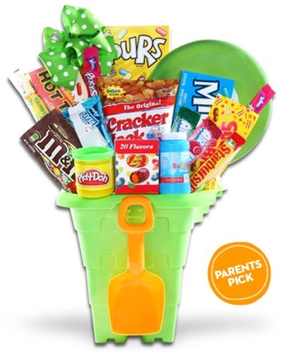 Sweet! This sand-castle bucket is stuffed with candy, bubbles, and Play-Doh for …