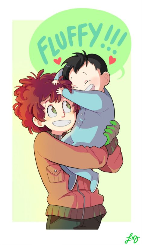 CUTE! I also like how the artist captures the full extent of Kyle's fluffy hair.