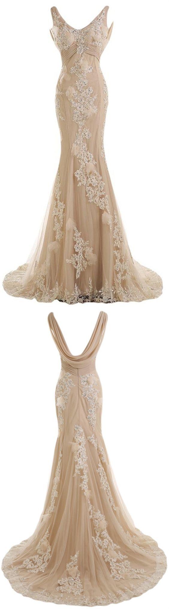 Gorgeous Champagne V-neck Bridal Dress, Mermaid Sweep Train Chiffon Lace Wedding Dress