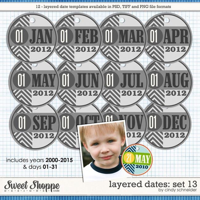 Cindy's Layered Dates: Set 13 by Cindy Schneider