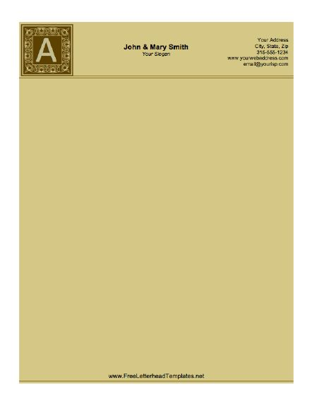 Brown tones and a classic feel comprise this monogram letterhead. Free to download and print