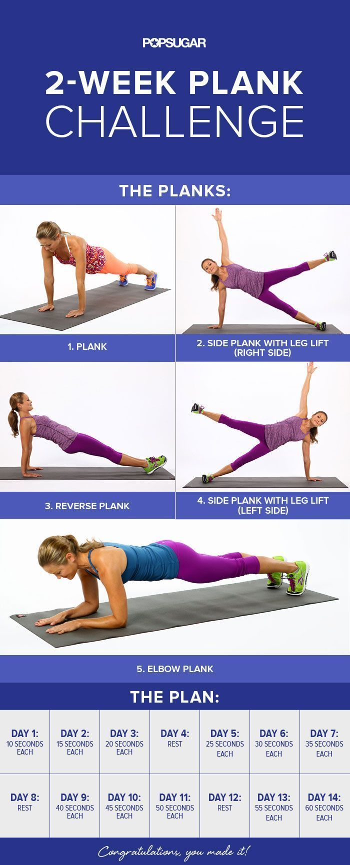 Looking for a new total-body workout? This 2-week plank challenge will put your abs, arms, back, and obliques to work.
