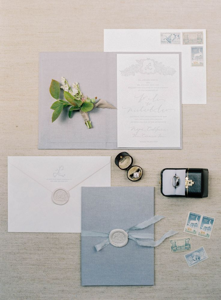 jen huang carneros inn wedding invitation suite baby blue and lilac