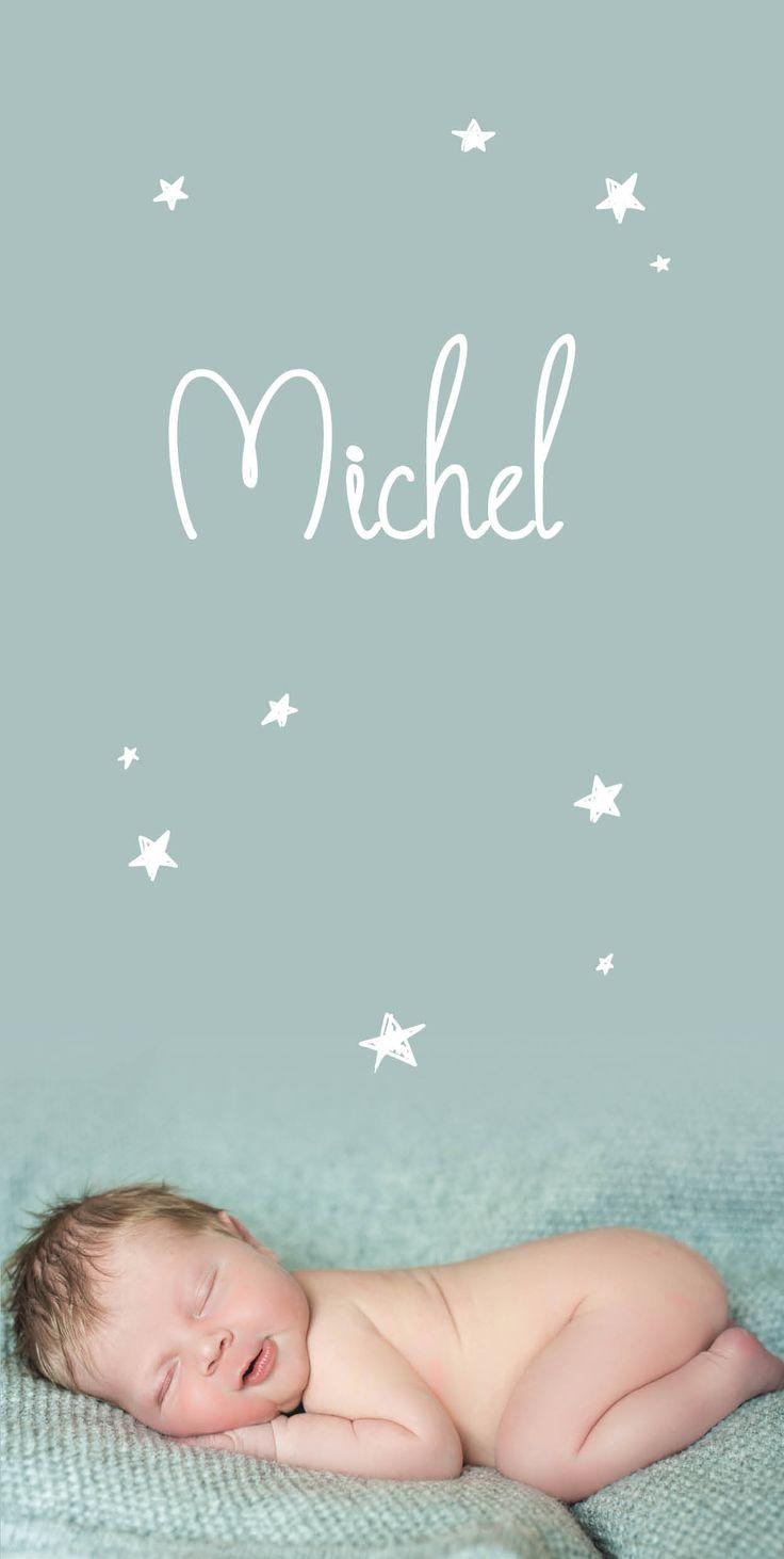 Geboortekaartje Michel | new born fotografie | foto | baby | jongen | oud groen | sterretjes | bijzonder formaat | Studio Altena