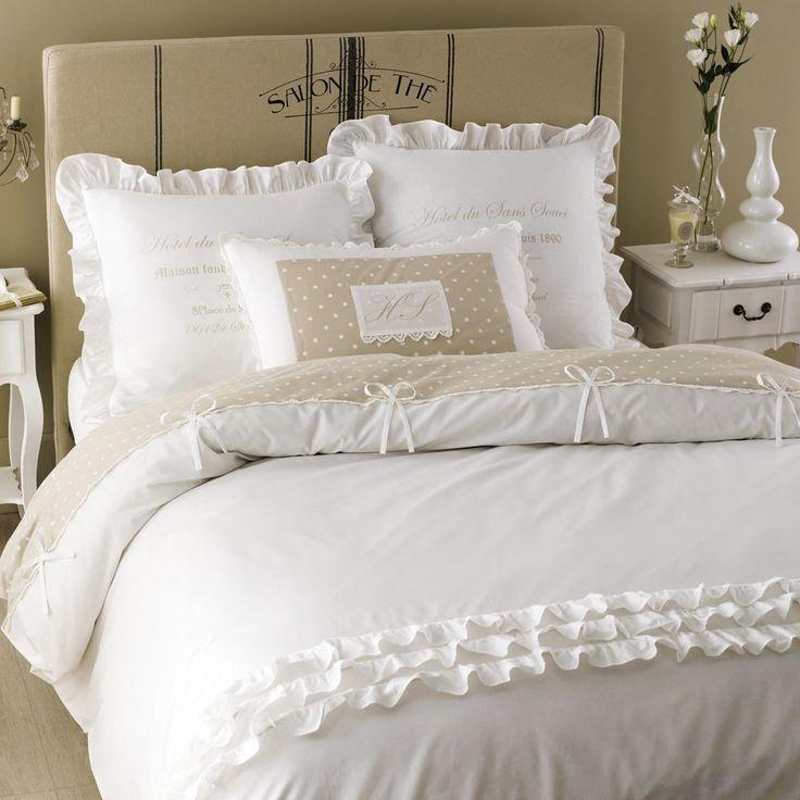 Parure De Lit En Coton Blanche 240 X 260 Cm Parure De Lit Housse De Couette Romantique Et Idee Deco Lit
