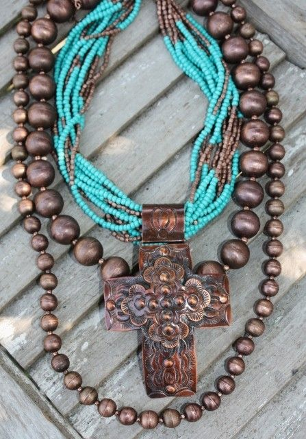 rustic & earthy turquoise beads and cross