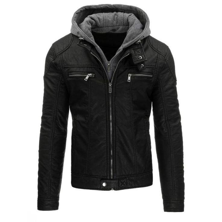 Pánská stylová bunda z eko kůže černá