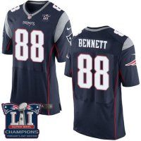 Men's New England Patriots #88 Martellus Bennett Navy Blue Team Color Super Bowl LI Champions Nen Elite Jersey