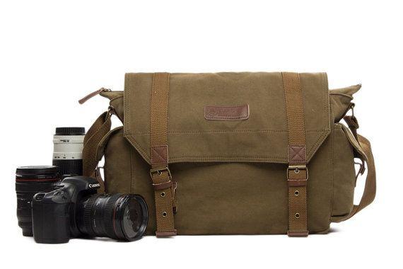 SALE Handmade Vintage Waxed Canvas DSLR Camera Bag SLR Camera