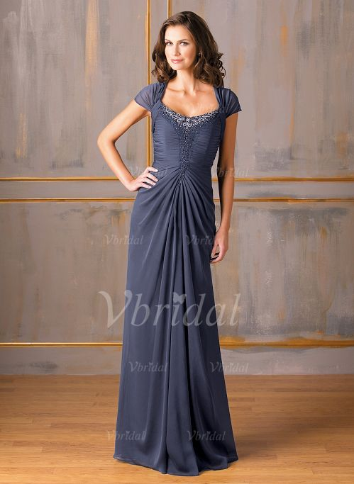 Mother of the Bride Dresses - $141.65 - A-Line/Princess Scoop Neck Floor-Length Chiffon Mother of the Bride Dress With Ruffle Beading (0085059775)