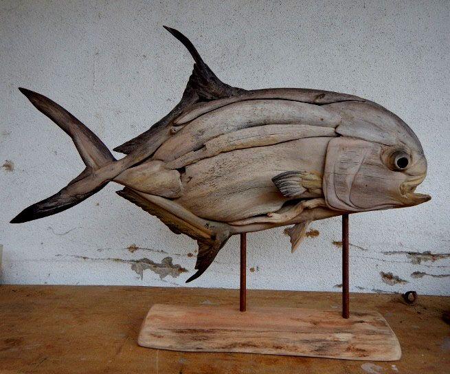 Driftwood Permit sculpture by Tony and Shaun Fredriksson Alphones island Seychelles