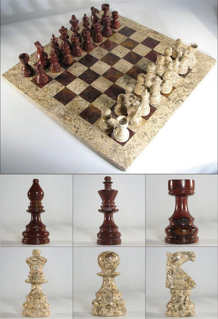 Auburn & Coral Stone Italian Marble Chess Set
